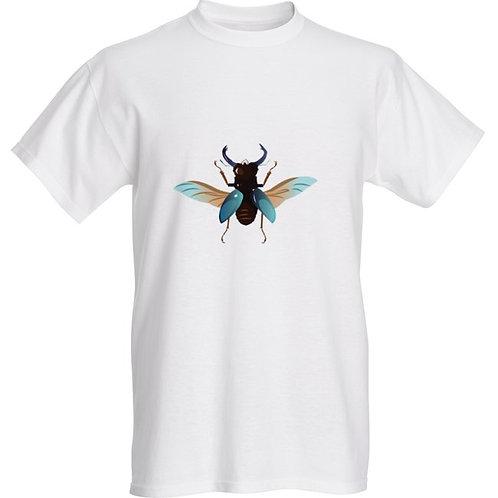 T-shirt Blanc scarabée bleu