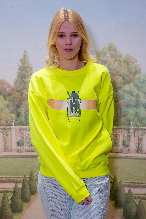 Sweat scarabée jaune fluo