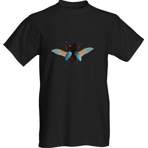 T-shirt noir avec scarabée bleu