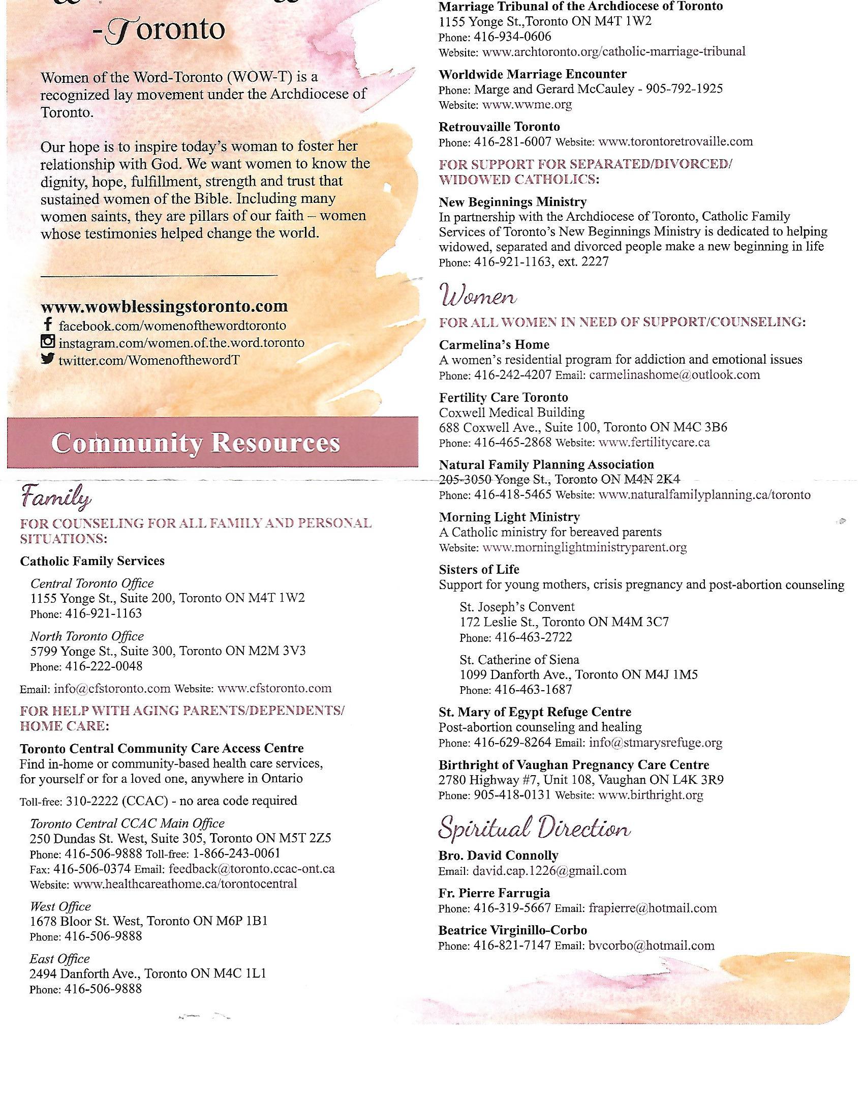 Community Resource Sheet
