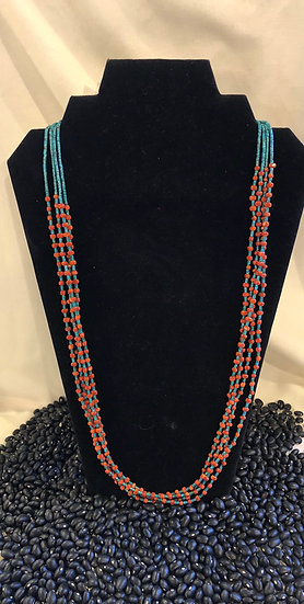4 Strand Turquoise & Coral Necklace