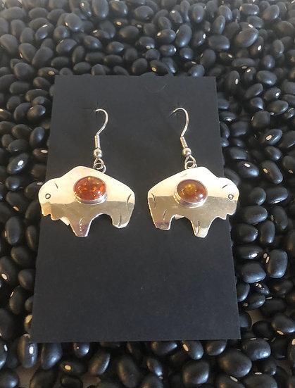 Amber Buffalo Earrings