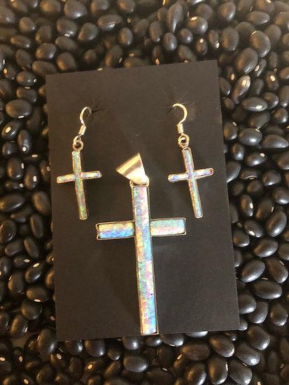 Opal Cross Earrings & Pendant