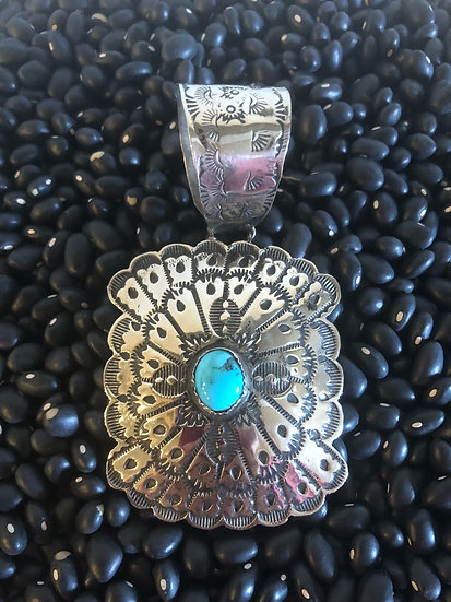 Detailed Silver and Turquoise Pendant