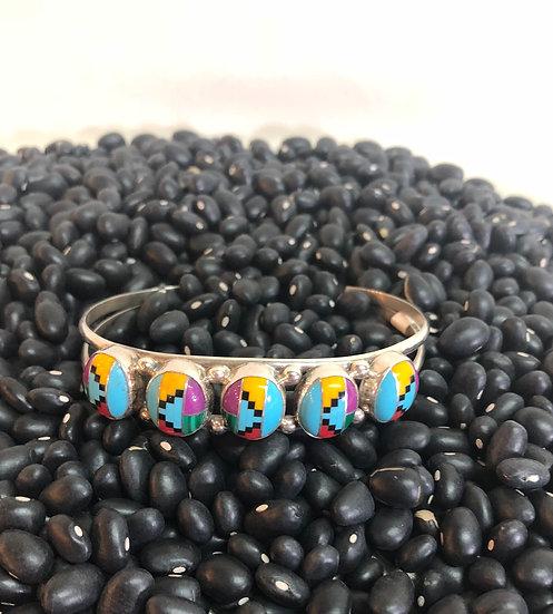 Inlaid Stone Cuff Bracelet