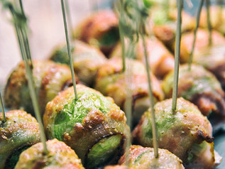 Bacon-Wrapped Brussel Sprouts With Mustard Sauce