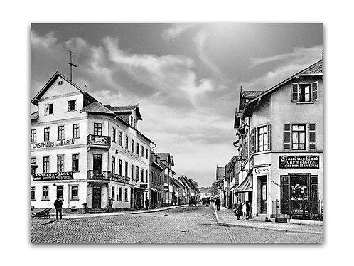 Klassisches s/w Foto auf Alu-Dibond, Vorstadt um 1907
