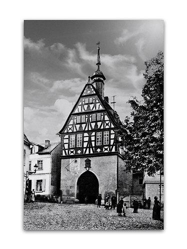 Klassisches s/w Foto auf Alu-Dibond, altes Rathaus um 1916