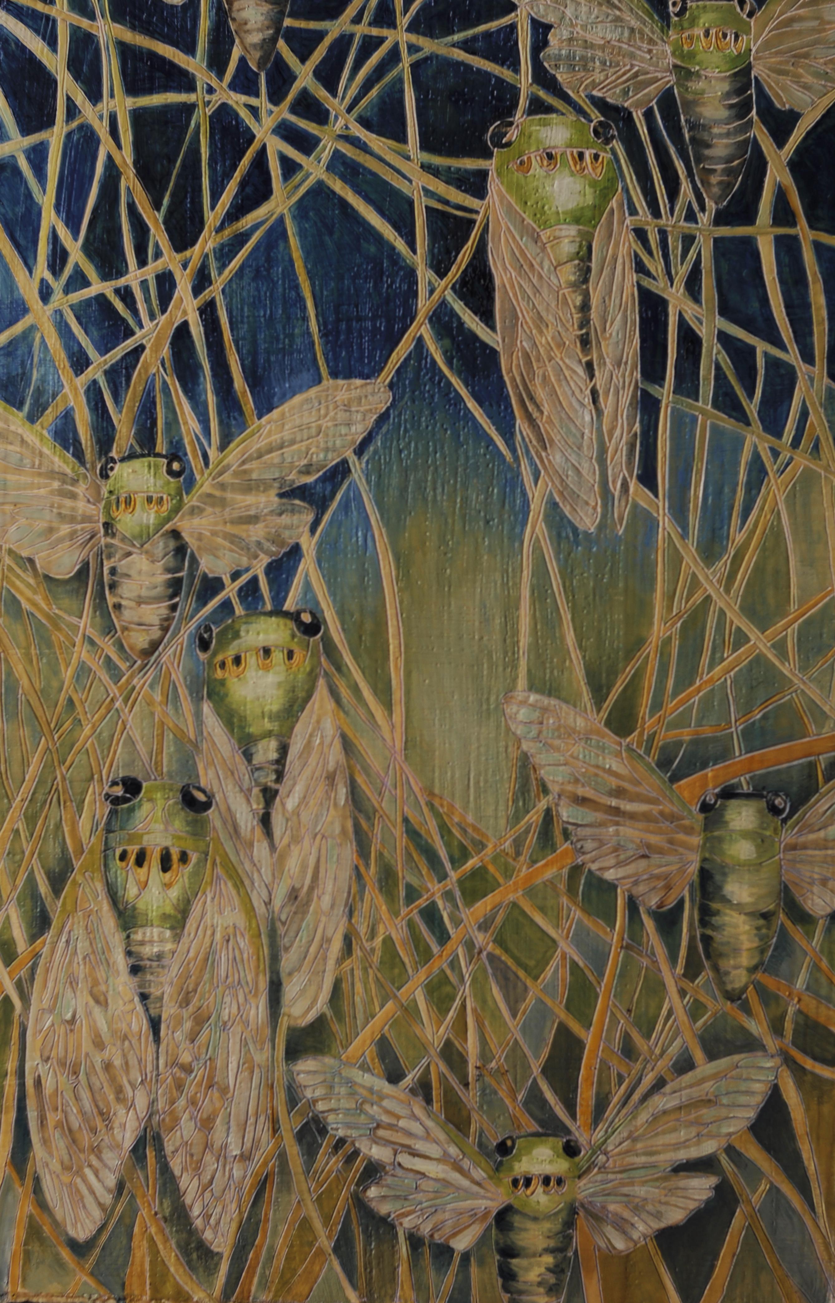 cicada with grasses