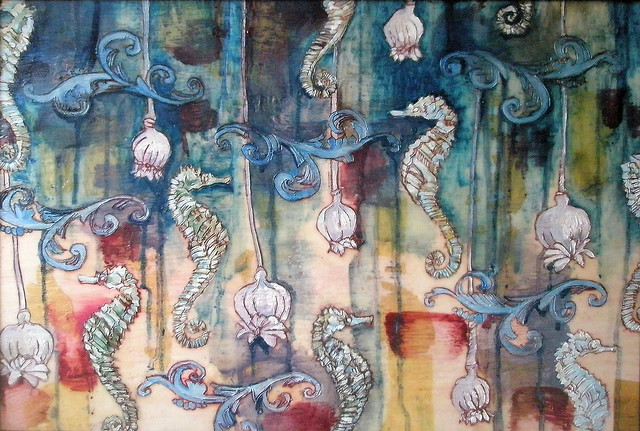 seahorses with poppies