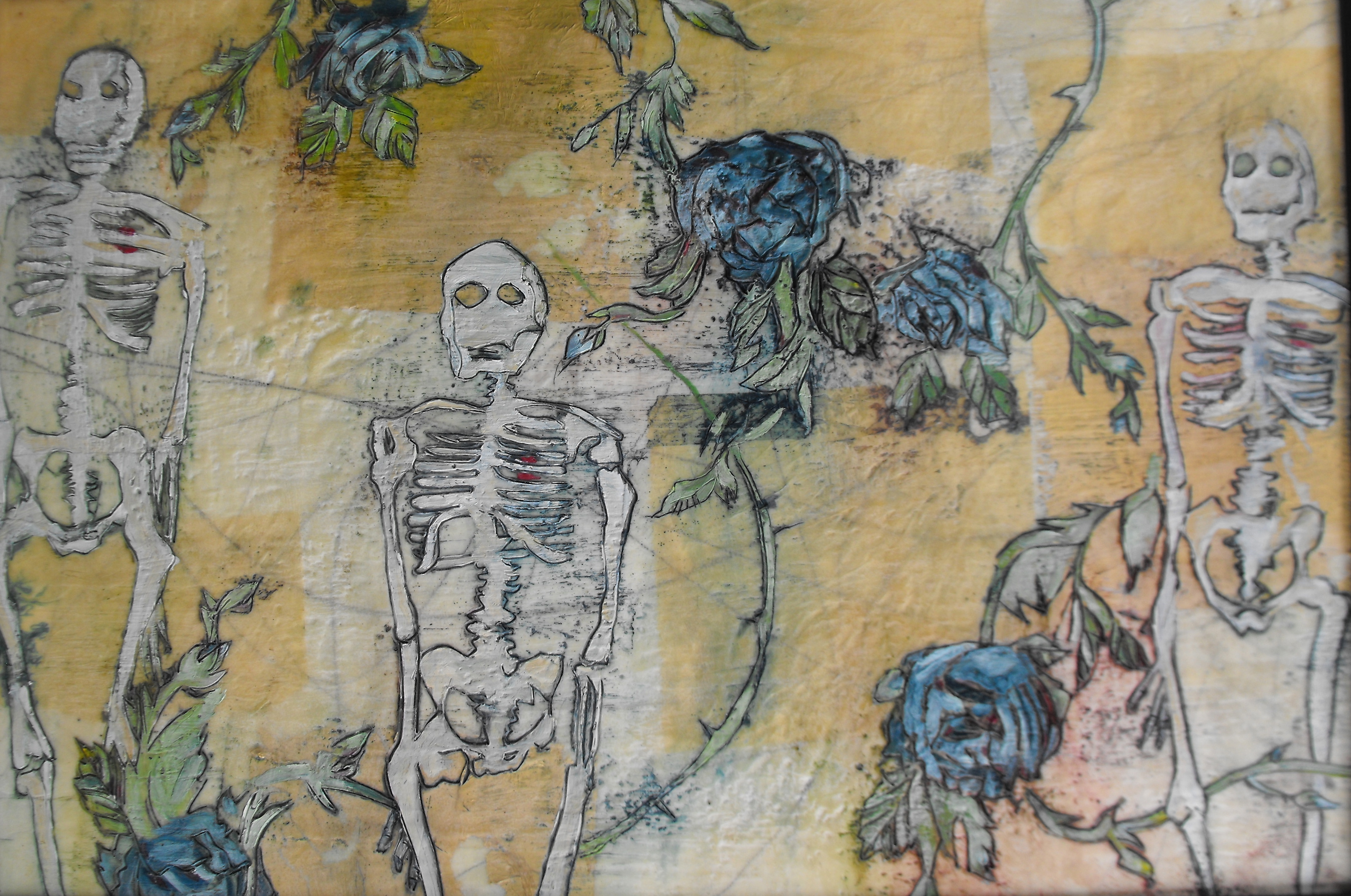skeletons with blue roses