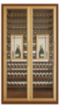 Vinoloq V-line wijnklimaatkast TWO DOORS CABINET  ​  2 and 3 temperature zones  two magnum cabinets  w 1595 x h 2780 x d 685 mm