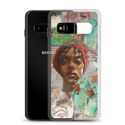 Woman with Parrots (Samsung Case) by Kathy Shorkey