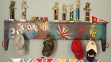 footboard turned graffiti hat/coat rack and trophy shelf