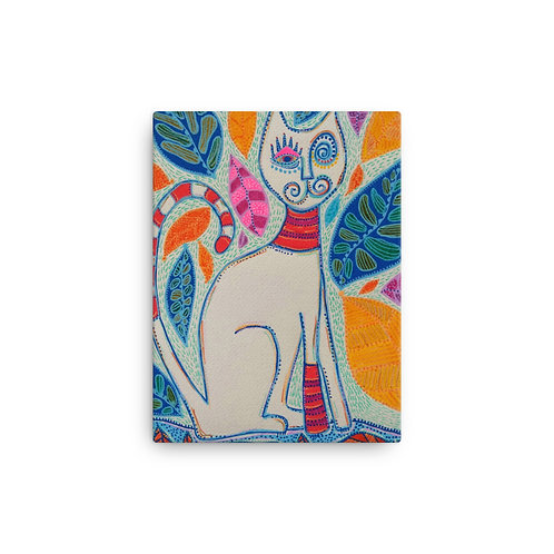 "Cat and Leaves (12""x 16"" Canvas Giclee) by Sandra Perez-Ramos"