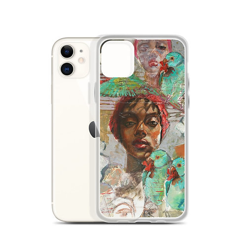 Woman with Parrots (iPhone Case) by Kathy Shorkey