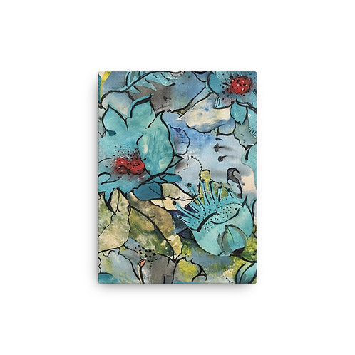 Blue Floral (Canvas Giclee) by Ana dos Santos