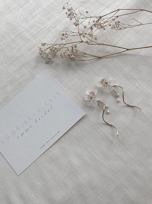 Acrylic Flower With Swirl Drop Earrings