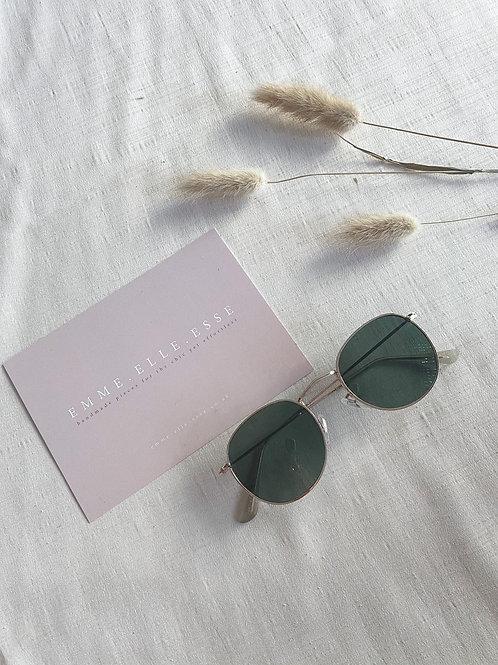 Gold & Green Round Sunglasses
