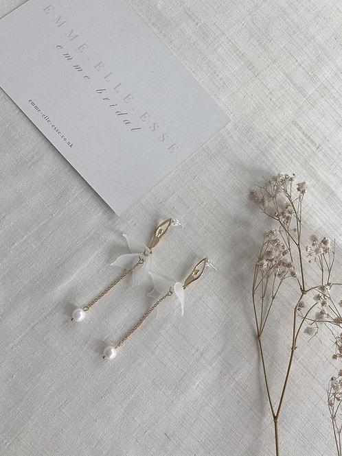 Gold Petal & Pearl Drop Earrings