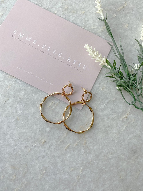 Twisted Double Circle Earrings | Gold