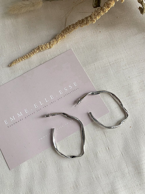 Long Twisted Hoops | Silver