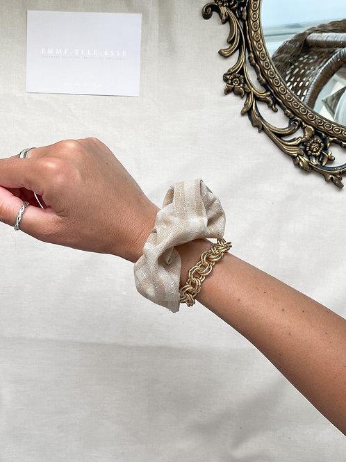 Striped Linen Scrunchie | Beige
