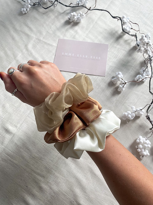 3 Pack of Scrunchies | Champagne, Copper & Ivory