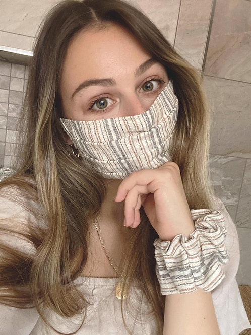 Linen Face Mask | Striped