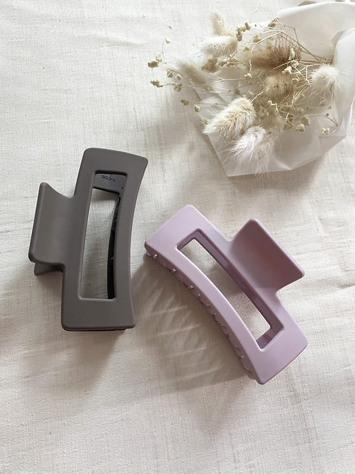Duo of Matte Acrylic Hair Grips | Dusky Lilac & Charcoal
