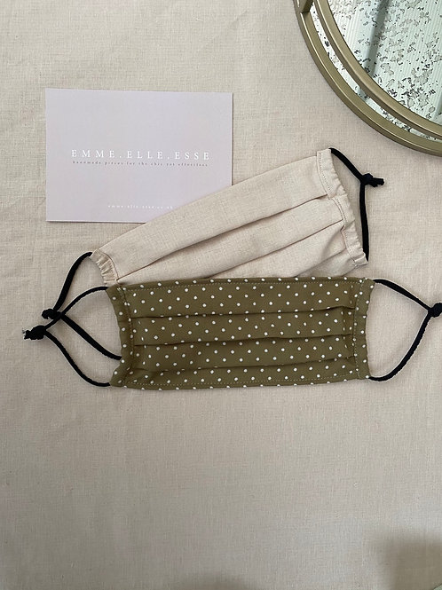 2 Pack of Face Masks | Beige & Spotted Olive