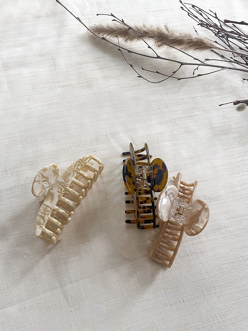 Trio of Acrylic Hair Claws | Ivory, Oyster & Tortoise