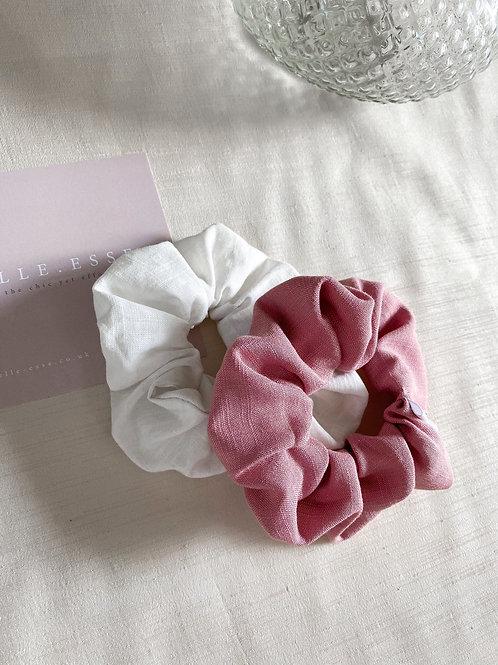 2 Pack of Scrunchies   Rose & Ecru
