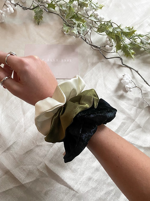 3 Pack of Scrunchies | Black, Olive & Ivory