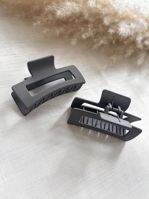 Matte Acrylic Hair Grip | Charcoal