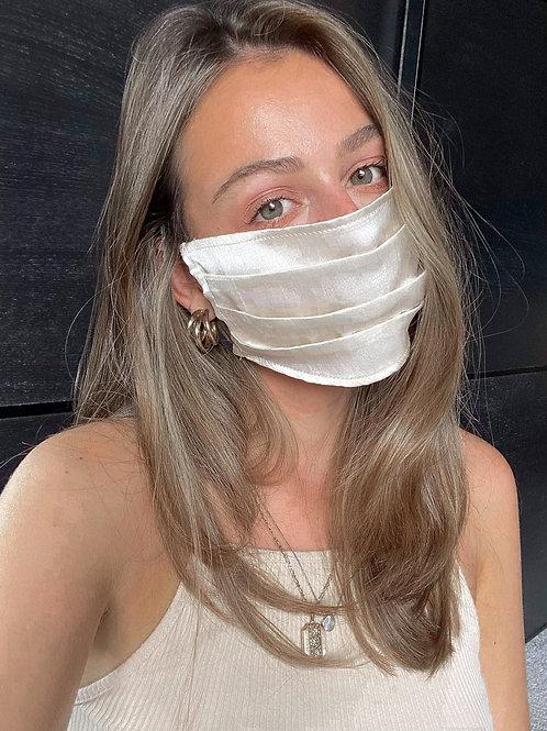 Silk Satin Face Mask | Cream