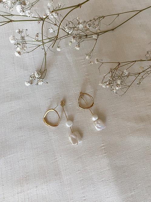 Circle Pearl Drop Stud Earrings