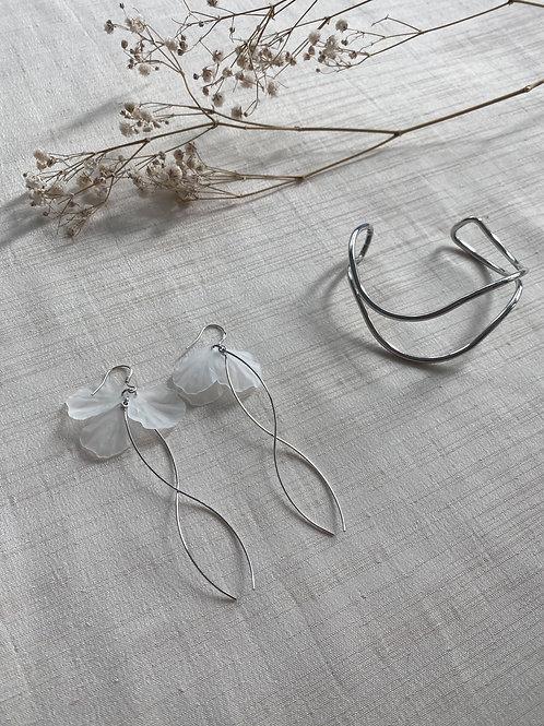 Silver & Acrylic Flower Twist Earrings