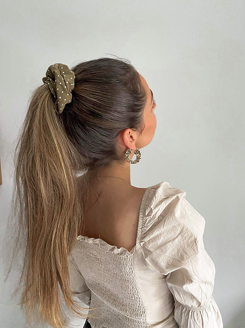 Olive Spotted Scrunchie