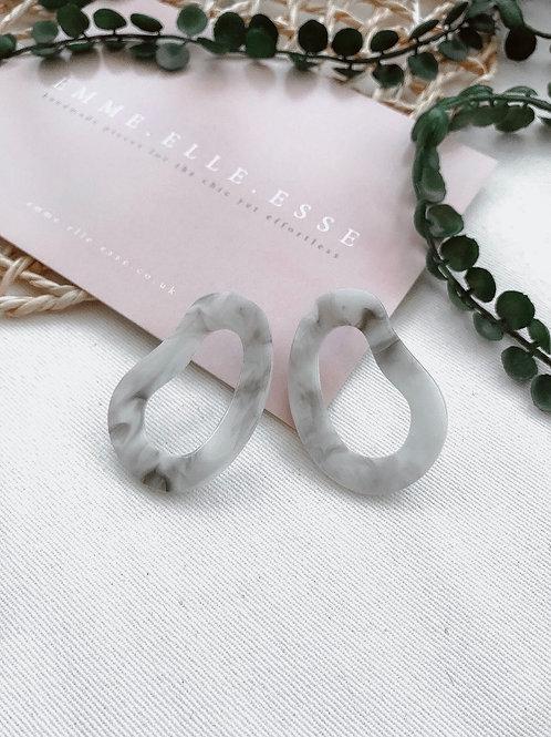 Grey Resin Earrings