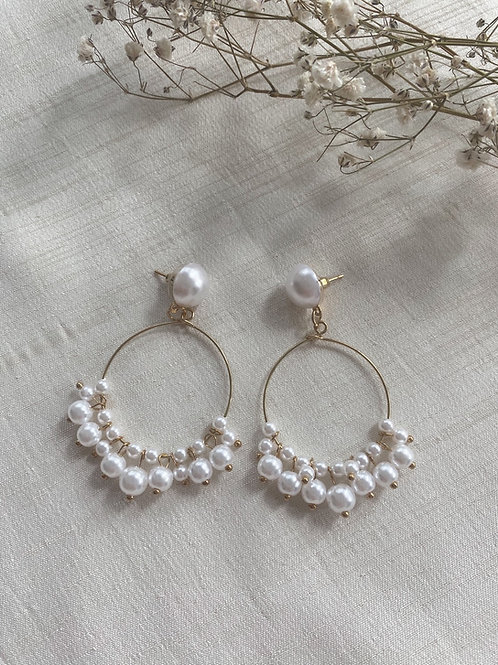 Pearl Chandelier Stud Earrings