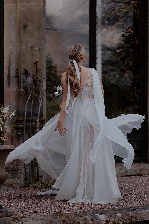 Bridal Crinkle Plisse Hair Tie | Ivory