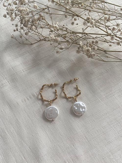 Crinkle Hoop Pearl Earrings