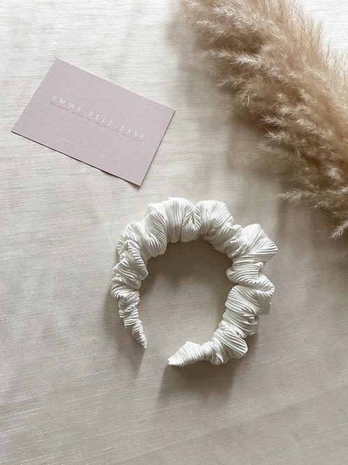 Crinkle Scrunchie Headband   Ivory
