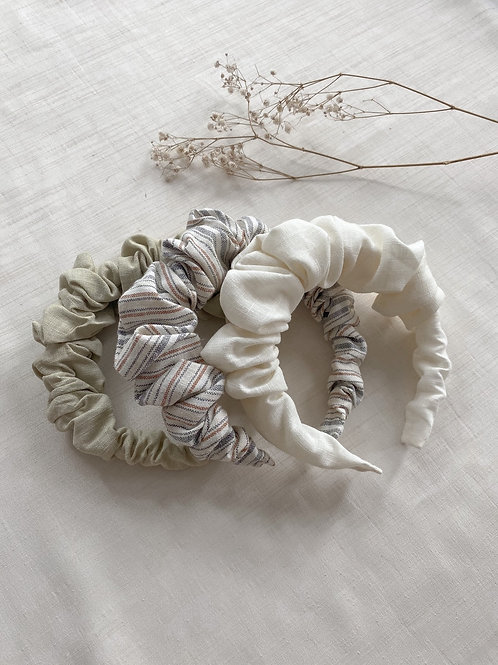 Linen Scrunchie Headband   Multiple Colours Available