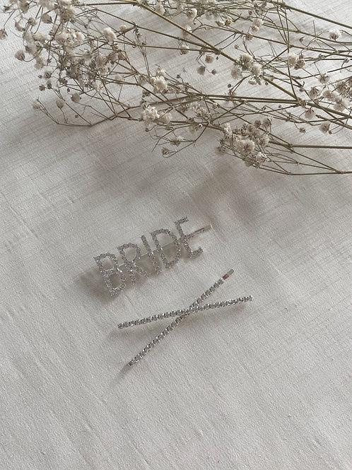 BRIDE & Criss Cross Diamante Hair Slides
