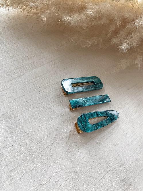 Trio of Acrylic Clips | Emerald