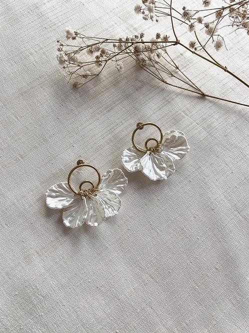 Ivory Acrylic Petal Stud Earrings