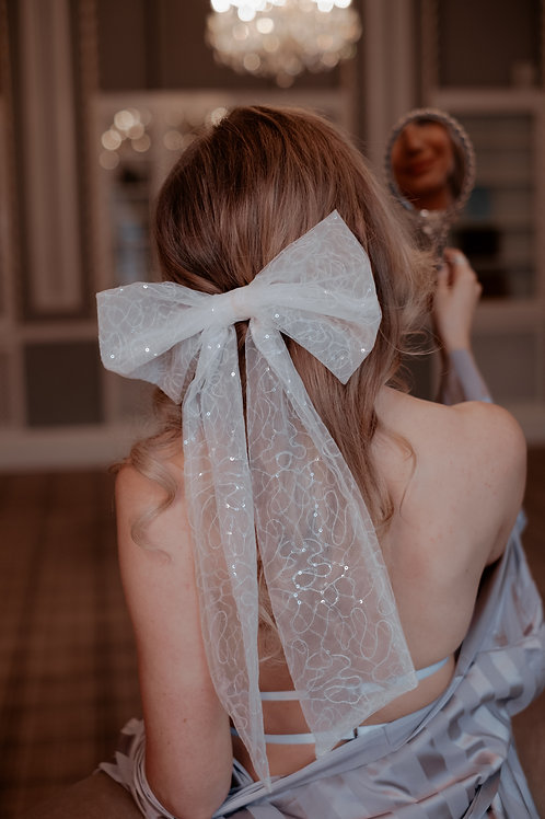 Oversized Embroidered Sequin Mesh Bow