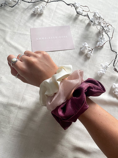 3 Pack of Scrunchies | Ivory & Pinks